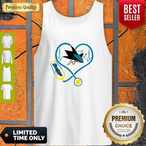 Good San Jose Sharks Nurse Heart Stethoscope Heartbeat Tank Top