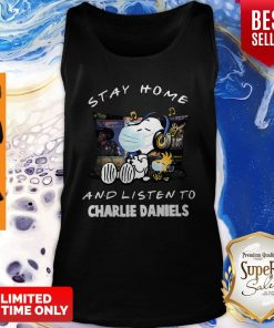 Nice Snoopy Woodstock Mask Stay Home And Listen To Charlie Daniels Tank Top