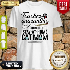 Teacher Quarantine Promoted To Stay At Home Cat Mom Shirt