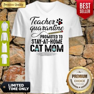 Teacher Quarantine Promoted To Stay At Home Cat Mom V-neck