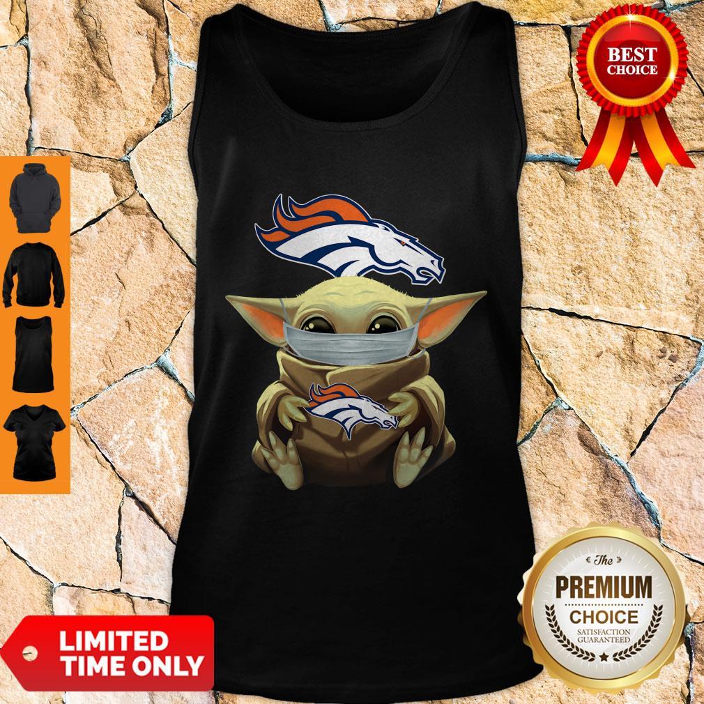 Top Baby Yoda Face Mask Denver Broncos Tee Tank Top