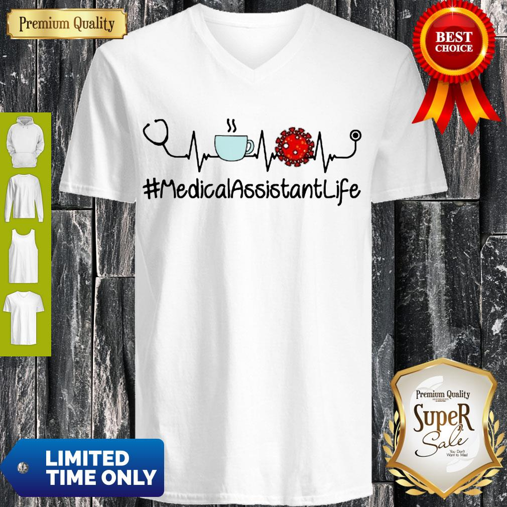 Top Heartbeat Coffee And Coronavirus MedicalAssistantLife V-neck