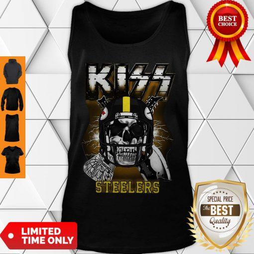 Top Skull Kiss Band Pittsburgh Steelers Tank Top