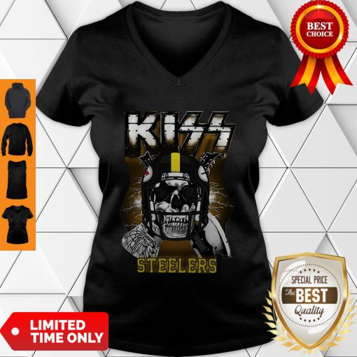 Top Skull Kiss Band Pittsburgh Steelers V-neck
