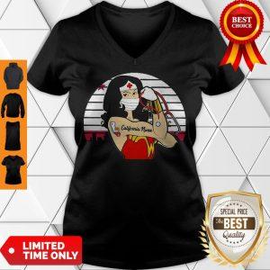 Good Strong Wonder Woman Tattoo California Nurse Coronavirus V-neck
