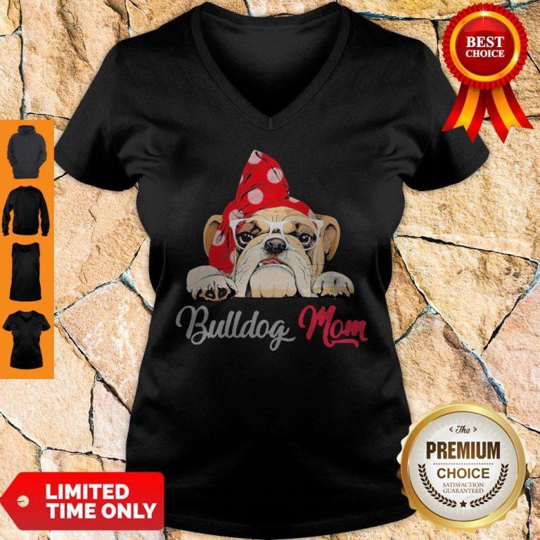 Premium Bulldog Cute Wear Glasses Dog Mom V-neck