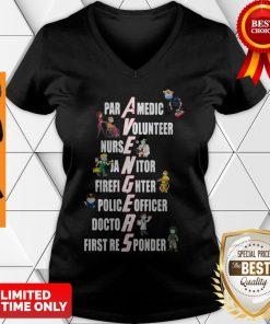 Nice Covid-19 Avengers Paramedic Volunteer Nurse Janitor Firefighter V-neck