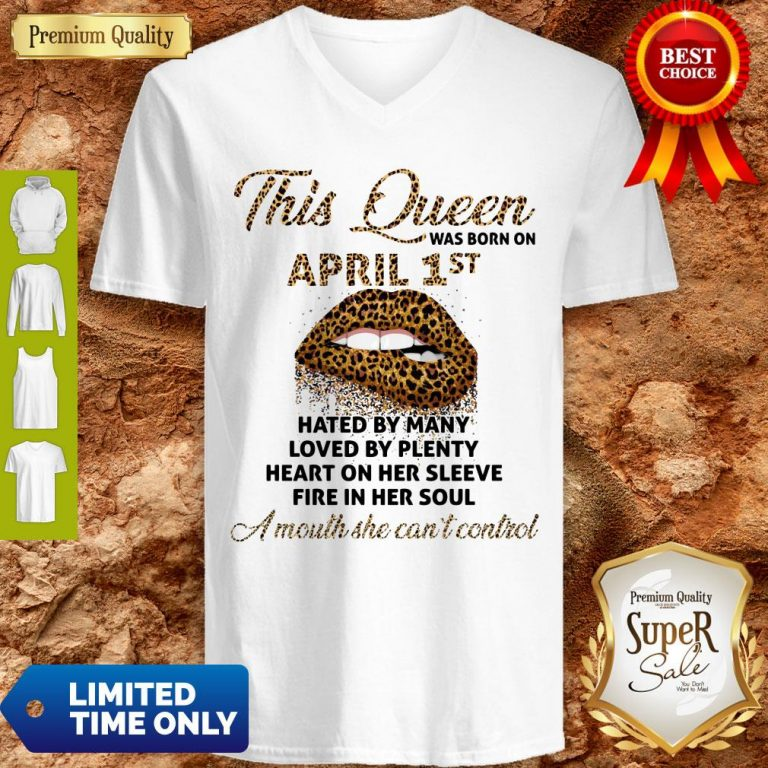 Funny This Queen Was Born On May 1st Hated By Many Loved By Plenty Lips Leopard V-neck