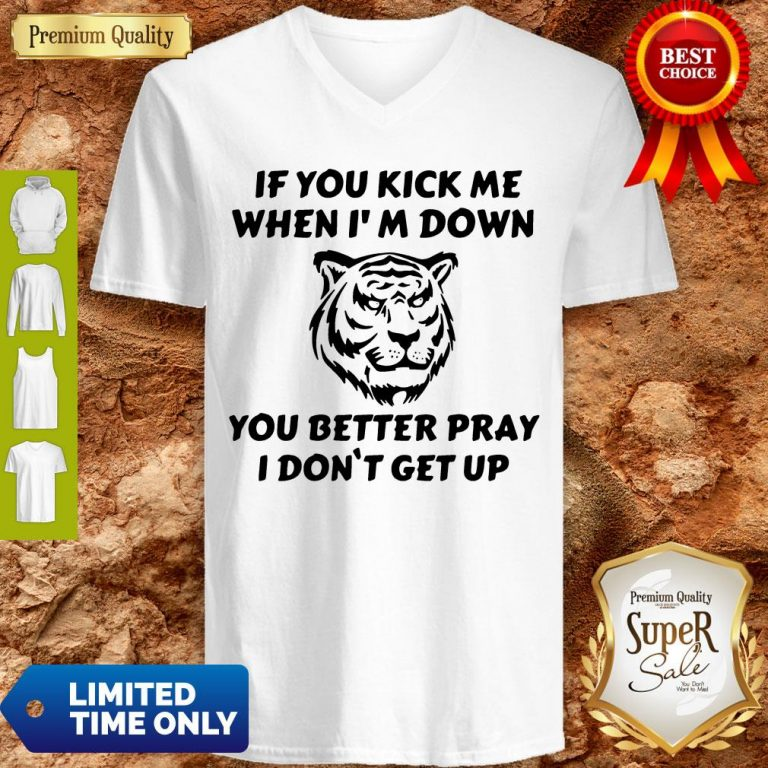Top If You Kick Me When I Am Down You Better Pray I Don't Get Up Tiger V-neck