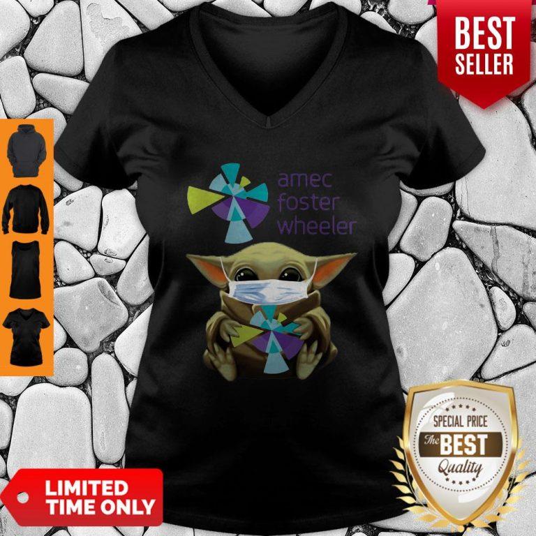 Good Baby Yoda Mask Amec Foster Wheeler Coronavirus V-neck
