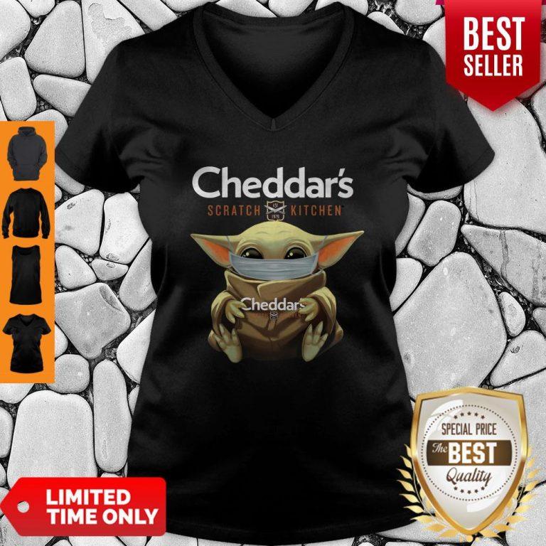 Awesome Baby Yoda Mask Cheddar's Scratch Kitchen Coronavirus V-neck
