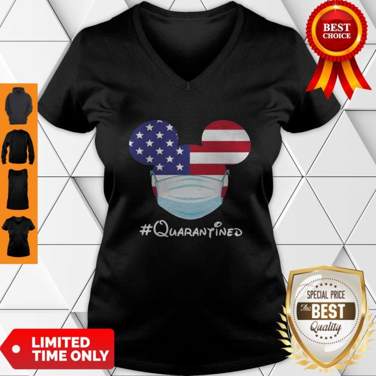Awesome Mickey American Flag Face Mask Quarantined V-neck