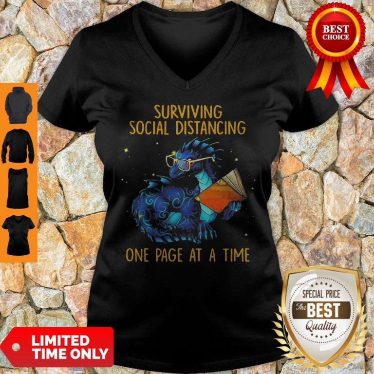 Nice Surviving Social Distancing One Page At A Time Dragon V-neck