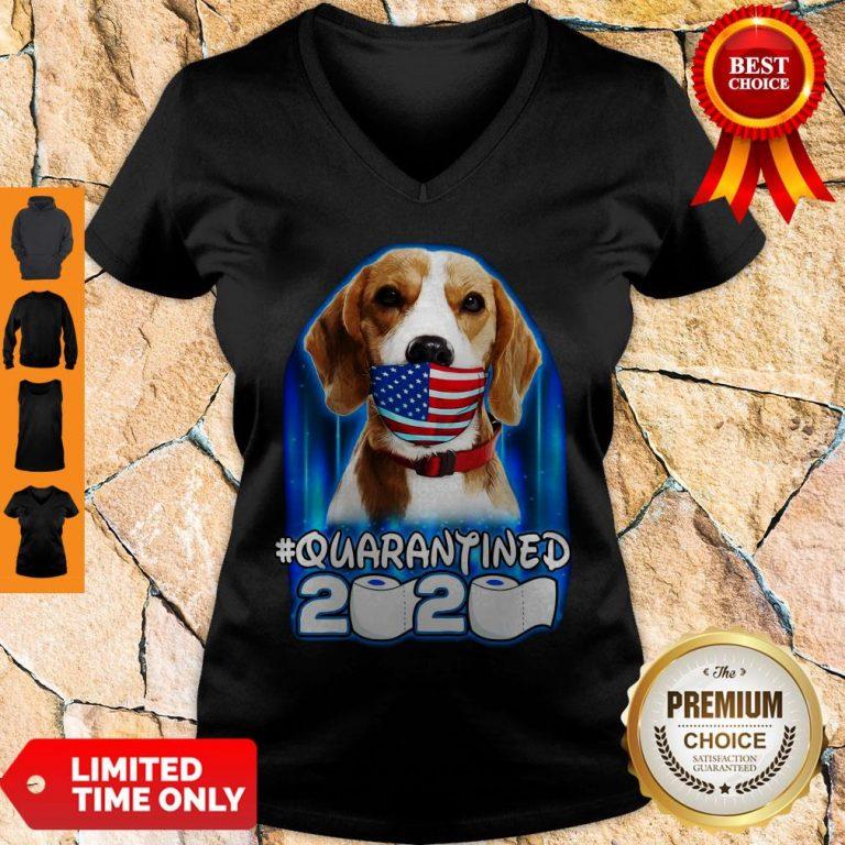 Funny Beagle Face Mask American Flag Quarantined 2020 Toilet Paper V-neck
