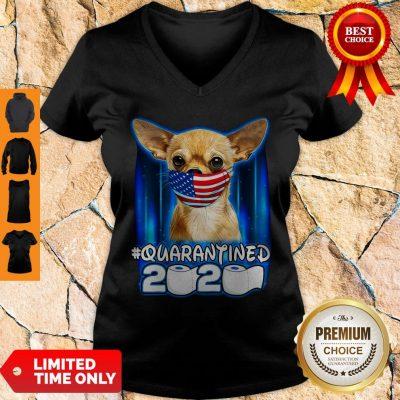 Funny Chihuahua Face Mask American Flag Quarantined 2020 V-neck