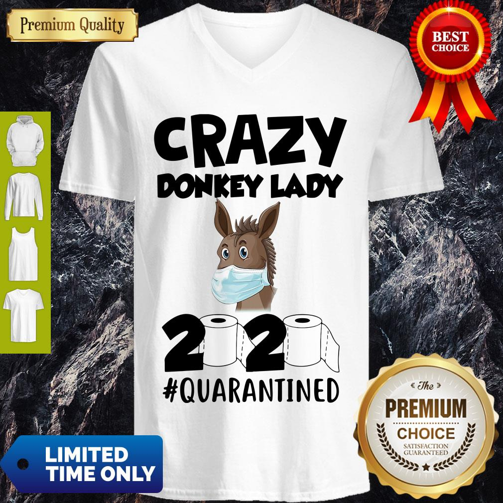 Nice Crazy Donkey Lady 2020 Quarantined Covid-19 V-neck