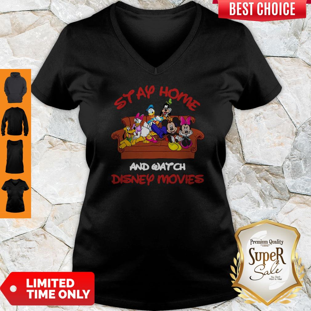 Mickey And Friends Stay Home And Watch Disney Movie V-neck