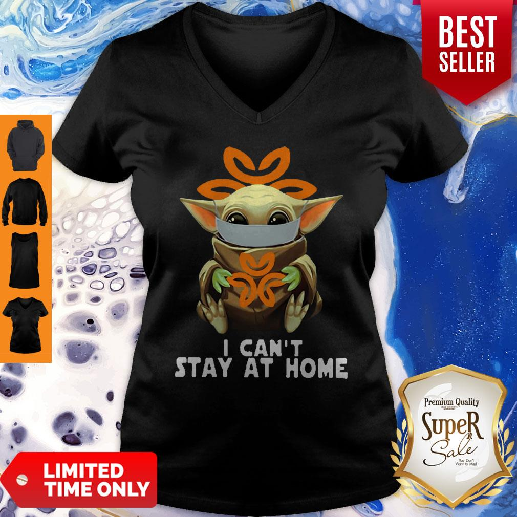 Awesome Baby Yoda Mask USPS I Can't Stay At Home Coronavirus V-neck