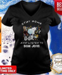 Nice Snoopy Woodstock Mask Stay Home And Listen To Bon Jovi V-neck