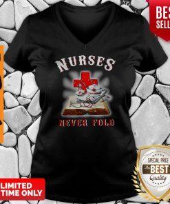 Good Cross Book Nurses Never Fold Proud Nurse V-neck