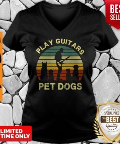 Top Play Guitars Player Pet Dogs Funny Gift For Dog Lovers V-neck