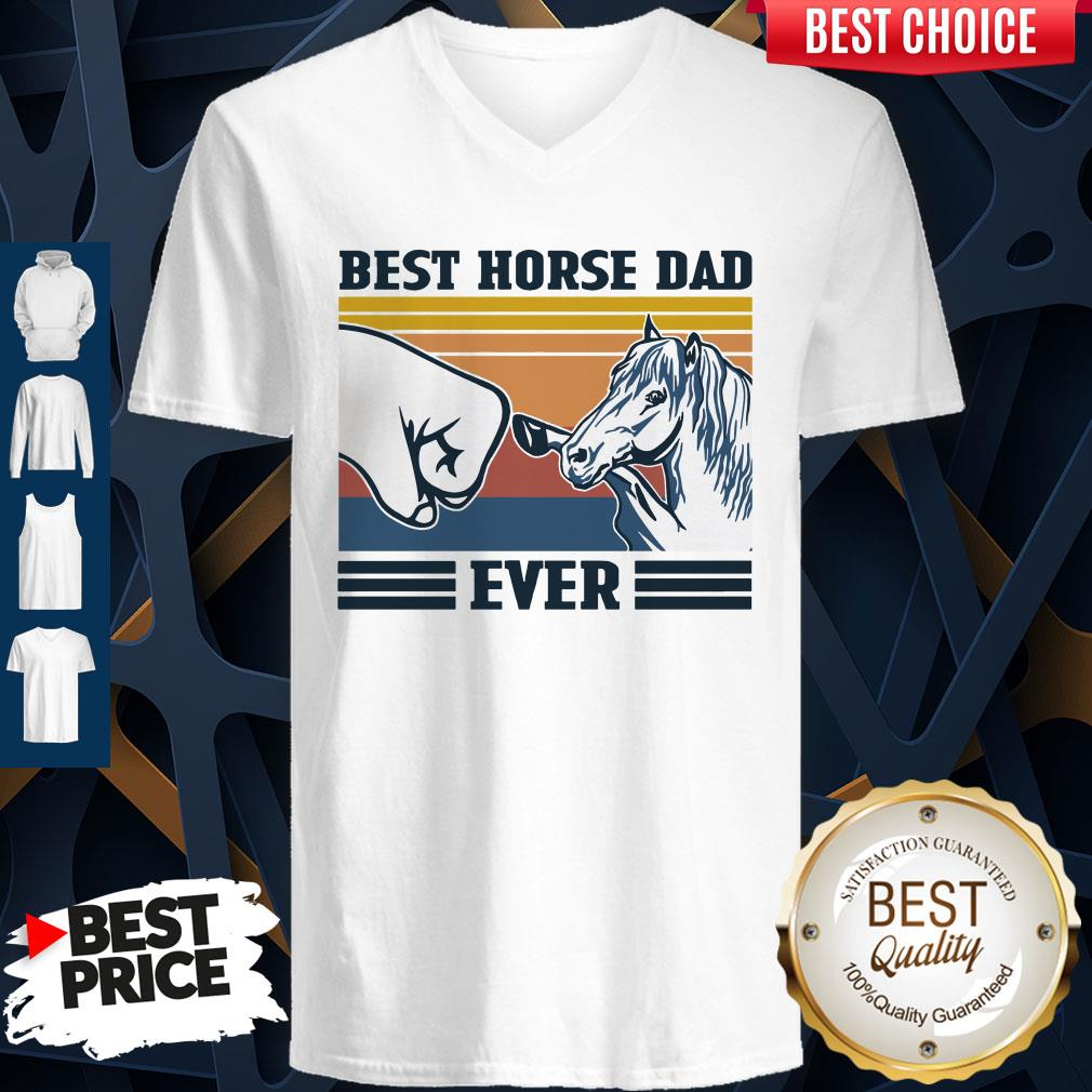 Nice Best Horse Dad Ever Father's Day Vintage V-neck