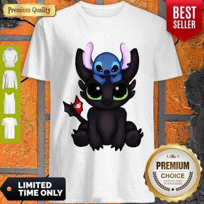 Awesome Baby Toothless Dragon And Stitch Flag Shirt