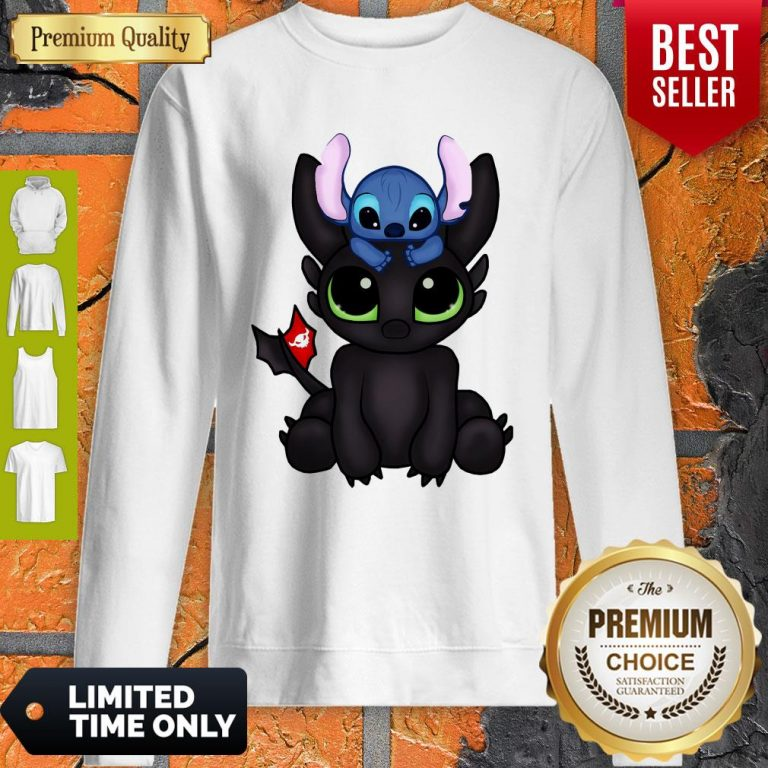Awesome Baby Toothless Dragon And Stitch Flag Sweatshirt