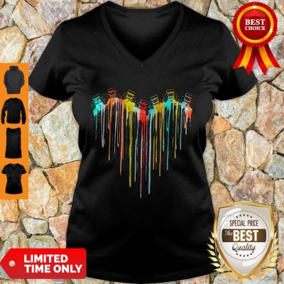 Awesome Colorful Dripping Heart Jeep V-neck