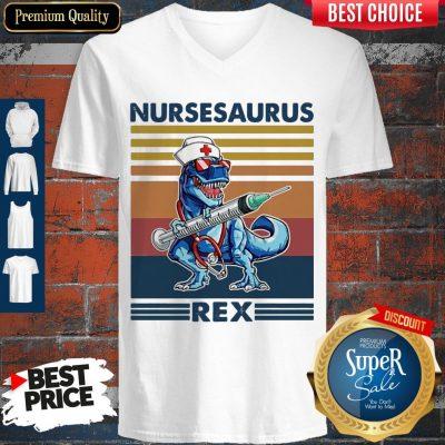 Awesome Dinosaur Nurse Nursesaurus Rex V-neck