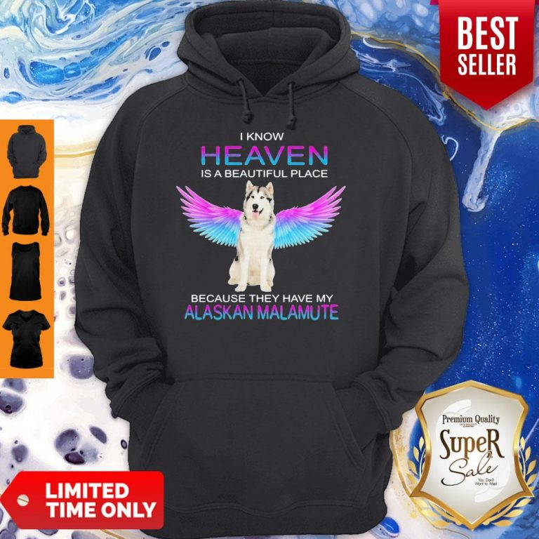 Cute Alaskan Malamute In Heaven Hoodie