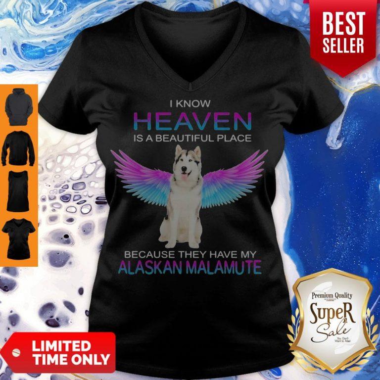 Cute Alaskan Malamute In Heaven V-neck