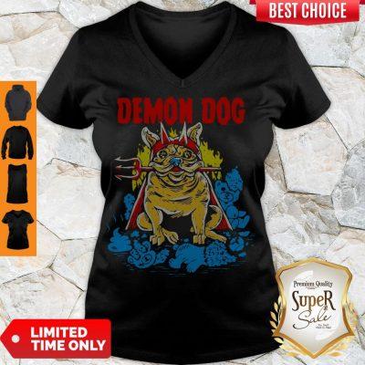 Cute Demon Dog V-neck