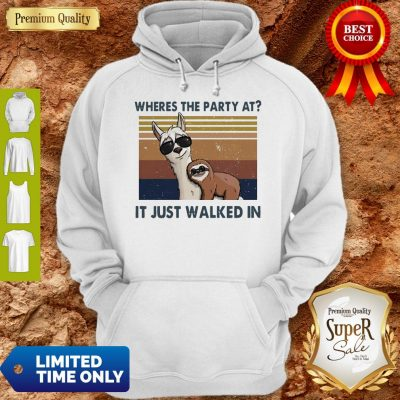 Funny Llama And Sloth Wheres The Party At It Just Walked In Vintage Hoodie