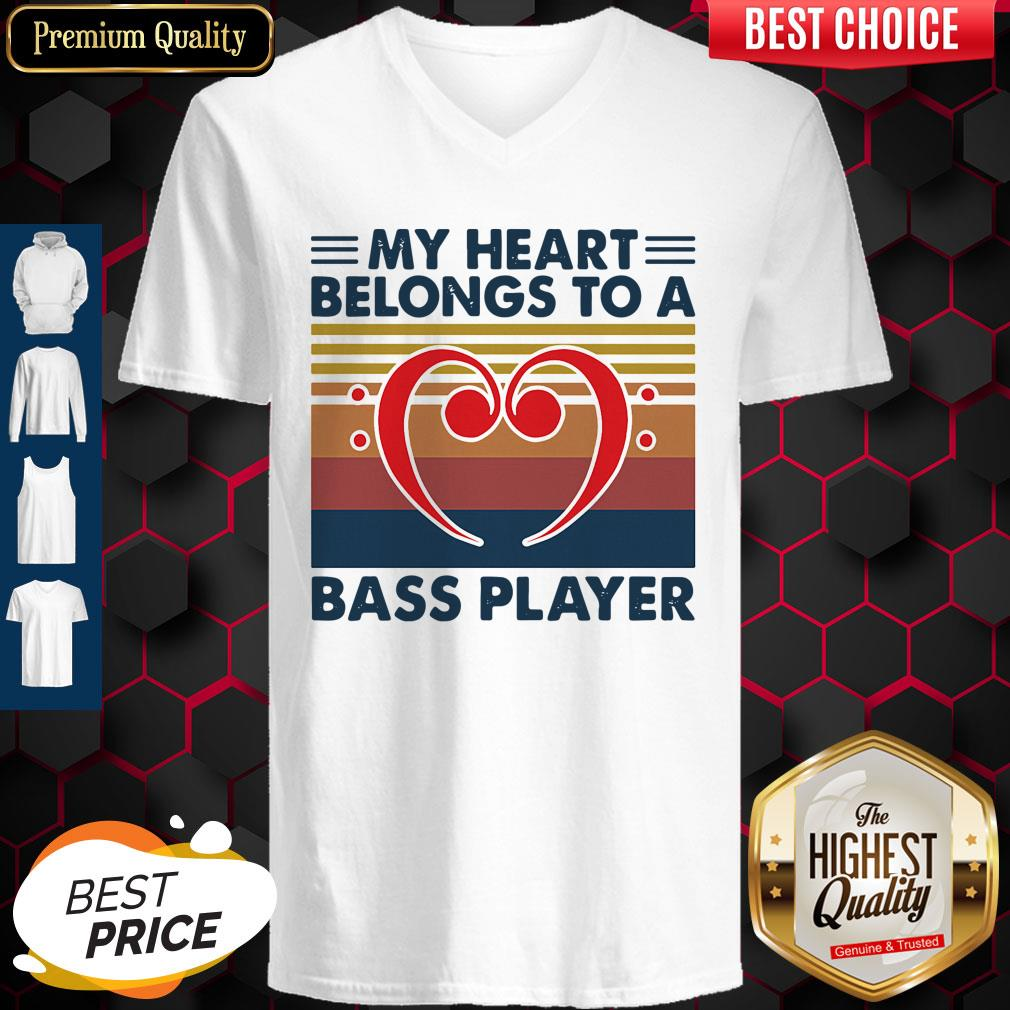 Nice Bass Guitar My Heart Belongs To A Bass Player Vintage V-neck