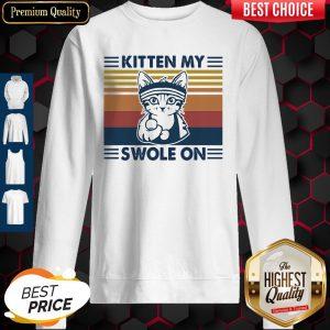 Nice Weightlifting Cat Kitten My Swole On Vintage Sweatshirt