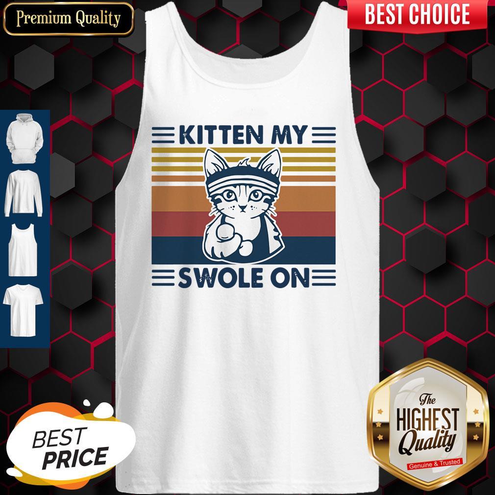 Nice Weightlifting Cat Kitten My Swole On Vintage Tank Top