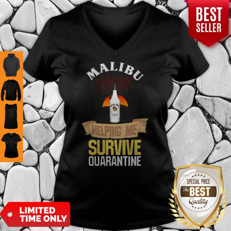 Official Malibu Helping Me Survive Quarantine V-neck