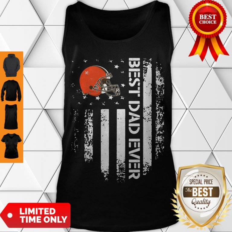 Perfect Cleveland Browns Best Dad Ever American Flag Tank Top