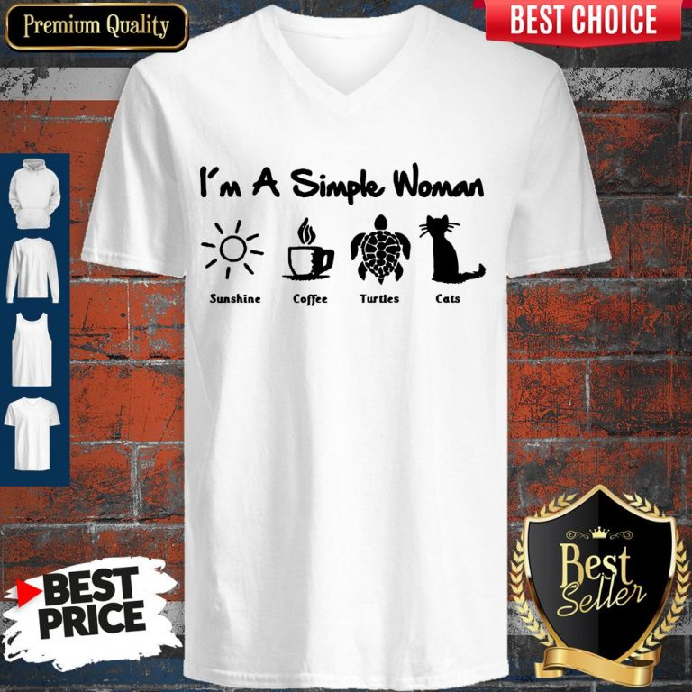 Perfect I'm A Simple Woman Sunshine Coffee Turles Cats V-neck