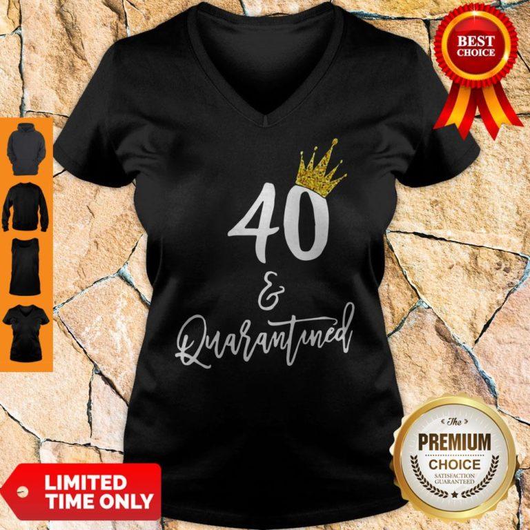 Premium 40 Queen And Quarantined Coronavirus V-neck - Design By Earstees.com