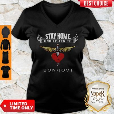 Premium Heart Stay Home And Listen To Bon Jovi V-neck - Design By Earstees.com