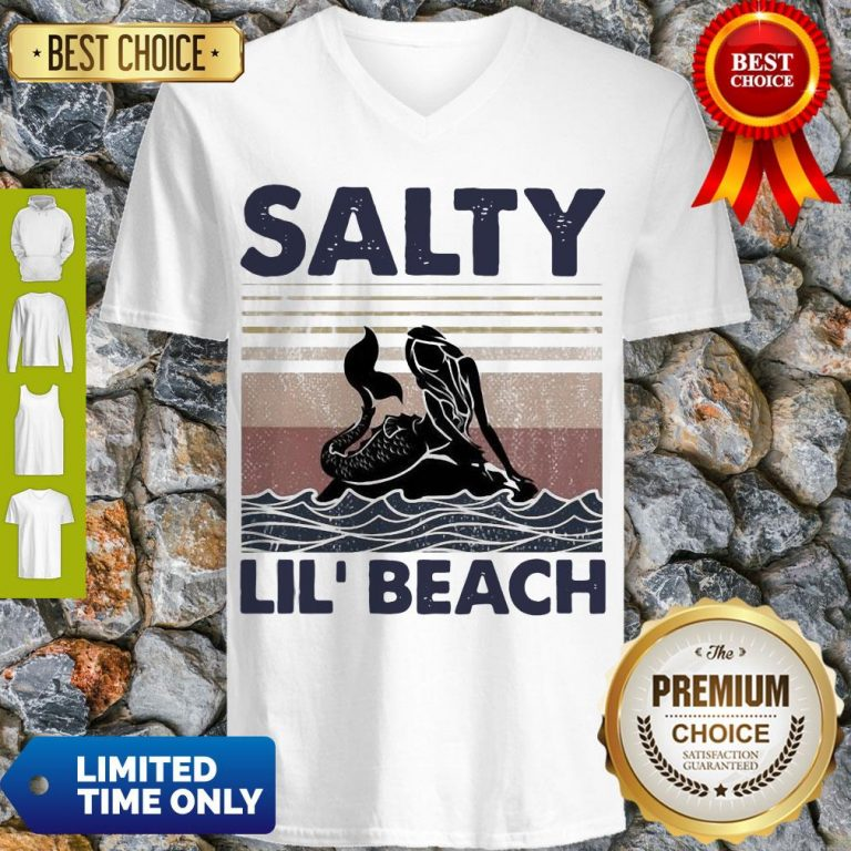 Premium Mermaid Salty Lil' Beach Vintage V-neck