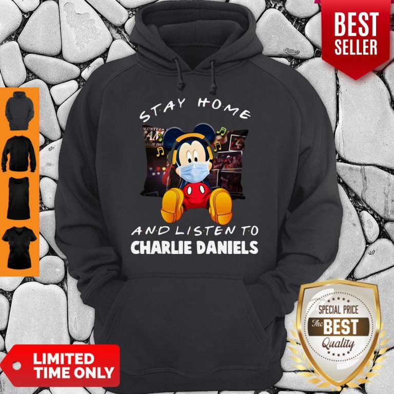 Premium Mickey Mouse Mask Stay Home And Listen To Charlie Daniels Hoodie
