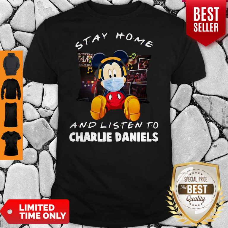 Premium Mickey Mouse Mask Stay Home And Listen To Charlie Daniels Shirt