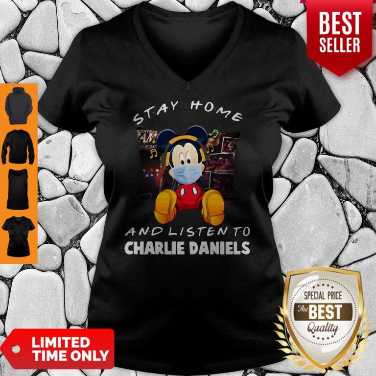 Premium Mickey Mouse Mask Stay Home And Listen To Charlie Daniels V-neck