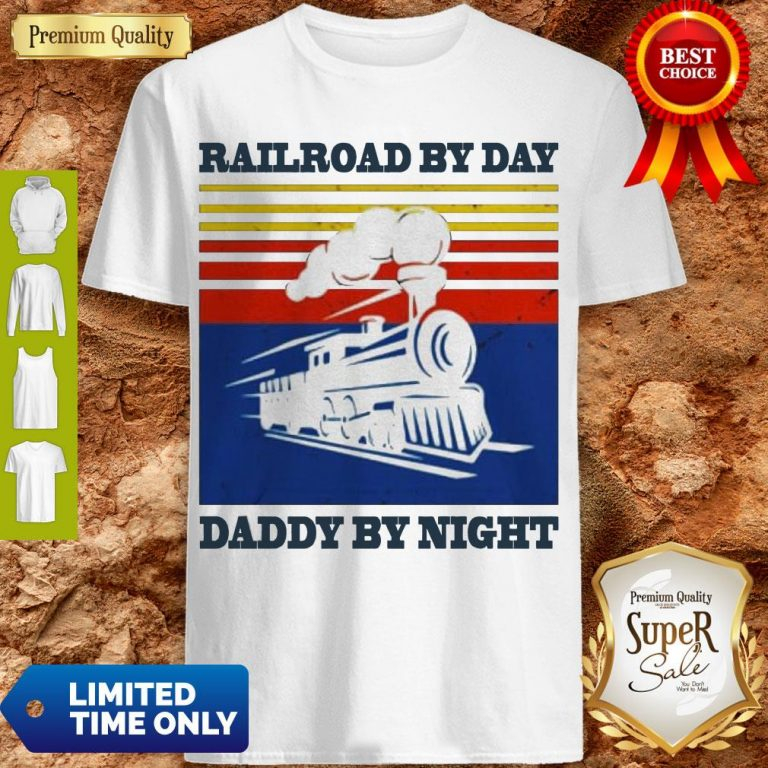 Premium Railroad By Day Daddy By Night Sunset Black Vintage Shirt
