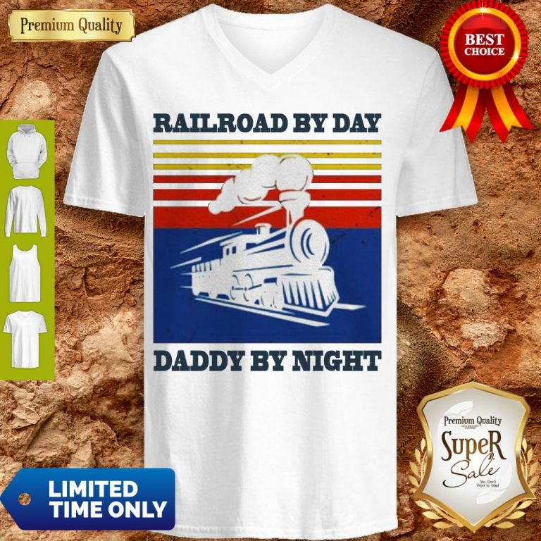 Premium Railroad By Day Daddy By Night Sunset Black Vintage V-neck
