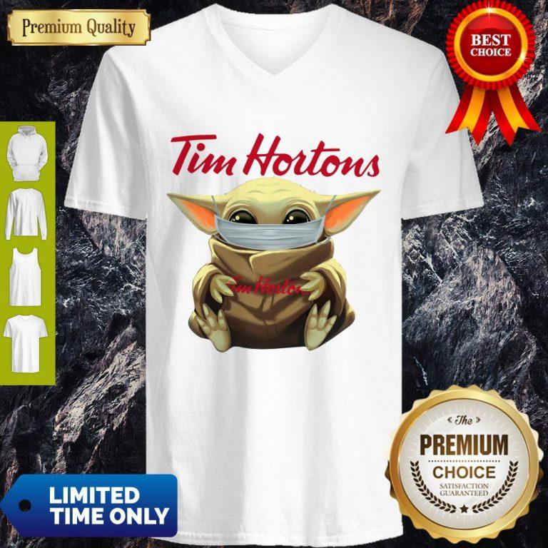 Premium Star Wars Baby Yoda Hug Tim Hortons Mask Covid 19 V-neck