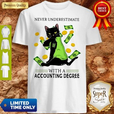 Top Official Never Underestimate A Cat Mom With A Accounting Degree Shirt